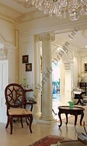 cream marfil marble column